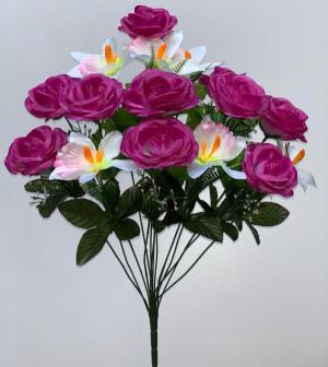 """Искуственные цветы """"Роза с ирисом"""""""