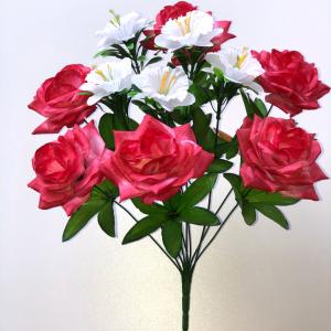 """Искуственные цветы """"Роза с нарциссом"""""""