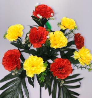 """Искуственные цветы """"Гвоздика с папоротником"""""""